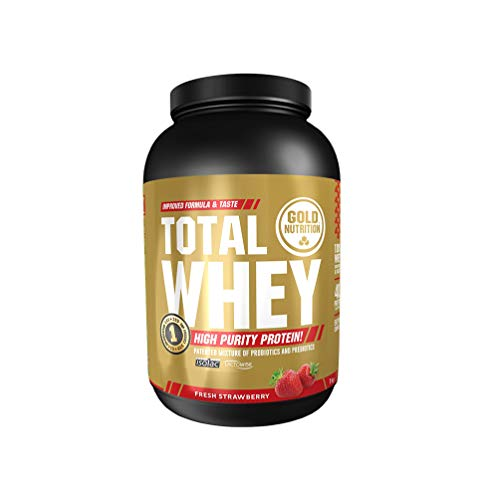 GoldNutrition Total Whey Proteina 1kg, Fresa, Aumenta y Conserva Músculos