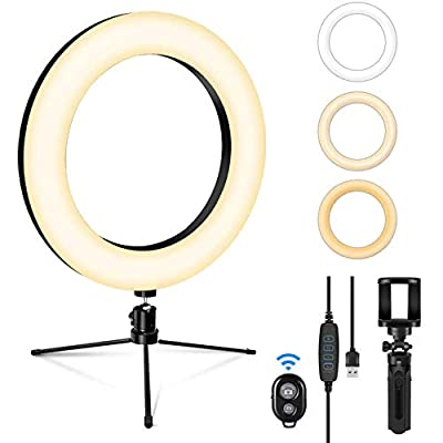 SEBIDER LED Selfie Ring Light with Tripod Stand & Phone Holder, Dimmable Desktop Ring Light with 3 Light Modes & 13 Brightness for Live Stream/Makeup/YouTube/TikTok/Photography Shooting by SEBIDER
