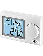 EMOS P5604 Digitale kamerthermostaat, handmatige wandthermostaat voor verwarmingssystemen en koelsystemen, thermostaat/kamertemperatuurregelaar met stelwiel, draadverbonden voor opbouwmontage, wit