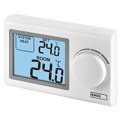 EMOS P5604 digitaler Raumthermostat, manueller Wandthermostat für Heizungssysteme und Kühlungssysteme, Thermostat/Raumtemperaturregler mit Stellrad, drahtverbunden zur Aufputzmontage, Weiß