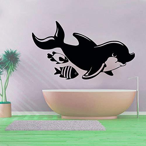 GJQFJBS Hohe Qualität Aushöhlen Fisch Und Delphin Wandaufkleber Bad Wasserdicht Abnehmbare Vinyl Kunst Aufkleber Braun 73 cm x 43 cm