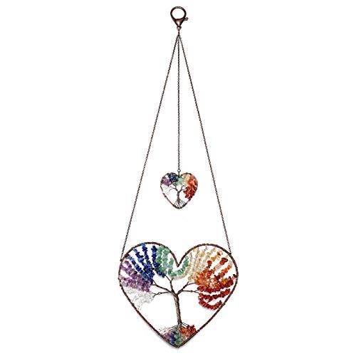 Jovivi 7 Chakra Heart Tree of Life Dream Catcher Hanging Ornament Bohemian Rainbow Double Hearts Tree of Life Crystal Window Car Wall Art Hanging Decorations for Home Bedroom Decor