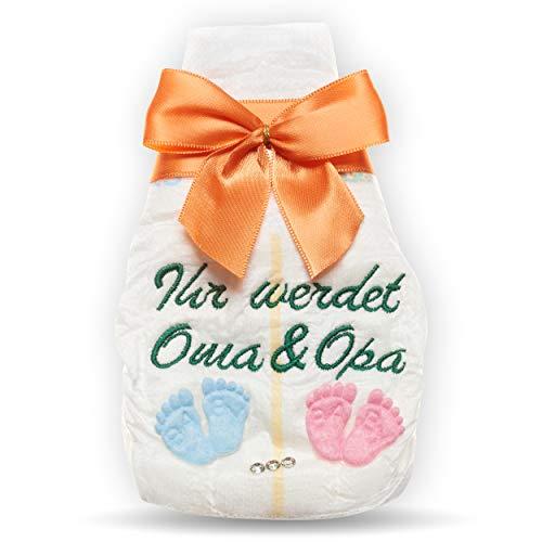 Ihr werdet Oma und Opa, Tanjo bestickte Windel, orange, Schwangerschaft verkünden Großeltern, Schwangerschaft verkünden Oma Opa, ihr werdet Großeltern Geschenke zur Geburt