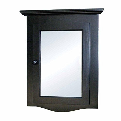 Renovator's Supply Black Corner Medicine Cabinet Solid Wood Recessed Mirror