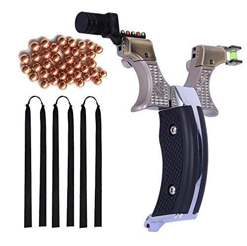 Obert Jagd Slingshot Zwille Katapult Powerful Steinschleuder Sportschleuder & 50 x 8mm Munition & 3 x Rubber Gummibands