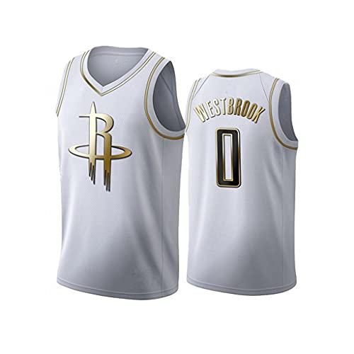 ZRHZB Camiseta de Baloncesto NBA New Houston Rockets Westbrook 0# Camiseta Deportiva Informal de Malla Transpirable para Hombres Y Mujeres (Platinum),S