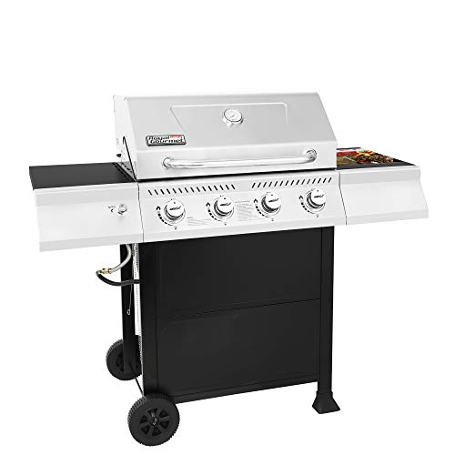 Royal Gourmet GA4400T Stainless Steel 4-Burner BBQ Liquid Propane Gas Grill, 40,000 BTU Cart Style Perfect Patio Garden Picnic Backyard Barbecue Grill with Side Tables