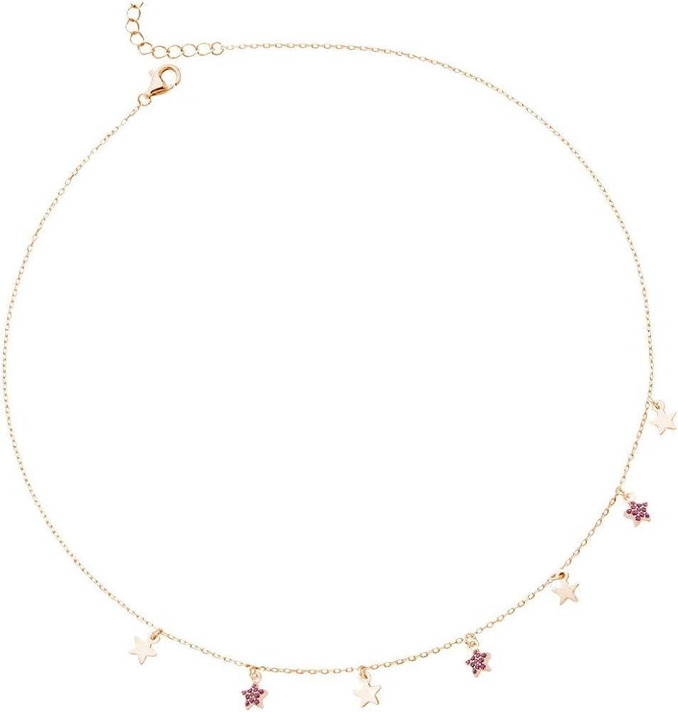 Boccadamo, girocollo stelline,collana per donna, in argento 925 placcata oro rosa,con zirconi ggr002rs