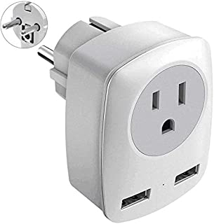 France Power Adapter, Germany Power Adapter, Type F Adapter, European Travel Plug Adapter, European Travel Adapter with 2 USB Ports, Outlet Adaptor for USA to Europe EU Russia Iceland Spain (Type E/F)