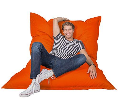 Lumaland PUF otomano Puff XXL 140 x 180 cm 380l con Relleno Innovador Maxi Puff Interior Exterior Naranja