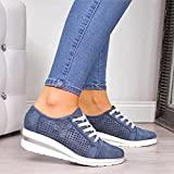 Alilyol Womens Casual Slip On Bling Sequins Sneakers Summer Sneakers Fashion Ladies Breathable Comfy Loafers Walking (01 Blue,5.5)