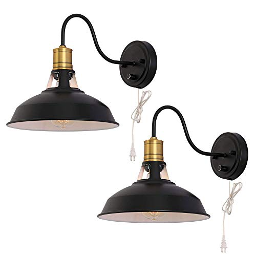 Pointhx 2 Luces Retro Creatividad Estilo Americano Aplique Lámpara de mesilla de Noche Pasillo Pasillo Escalera Aplique, Negro, Metal, E27