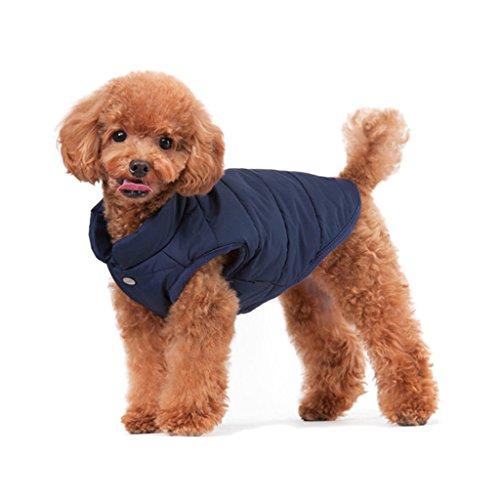 ubest Hundemantel Warm Winterjacke Verdicken Zotte Baumwolle Gepolstert Puffer Weste, Blau, 35 * 50 * 36 cm, Größe M