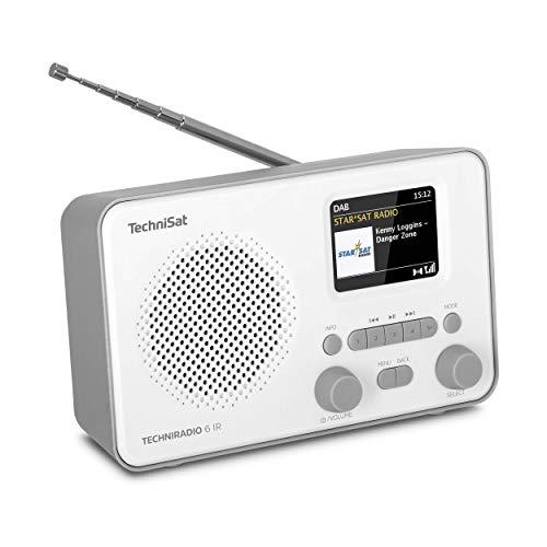 TechniSat TECHNIRADIO 6 IR - Radio por Internet portátil (Dab+, FM, Wi-Fi, Bluetooth, Pantalla a Color, Despertador, Control por aplicación, Memoria Favorita, 3 W RMS), Color Gris y Blanco