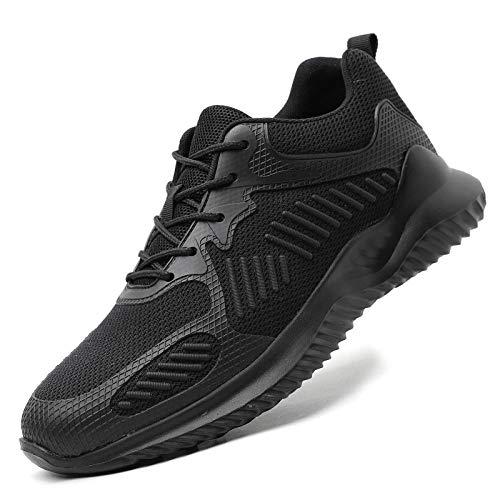 xiaozhu Botas de Trabajo Protectoras con Punta de Acero para Hombre, Zapatos antigolpes para Exteriores, Zapatos de Seguridad a Prueba de pinchazos para Hombre, Zapatillas deportivas-8116 Negro_43