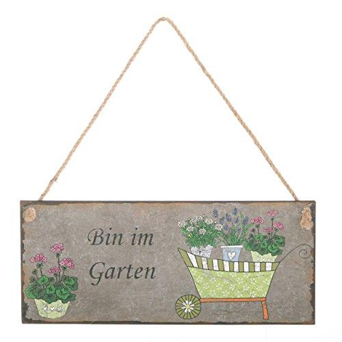 ZARTMANN LIVING Dekoschild Bin IM Garten - Metallschild - Gartenschild - Wanddeko