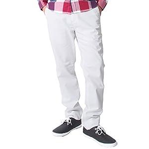 (イナセ) INASE メンズ ストレート チノパン チノ コットン パンツ カジュアル 綿パン L 5-ホワイト