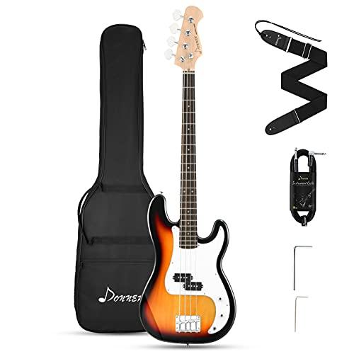 Donner Pack Bajo Electrico 4 Cuerdas Bajo Eléctrico Tamaño Completo con bolsa, correa de guitarra y cable de guitarra (Sunburst, DPB-510S)