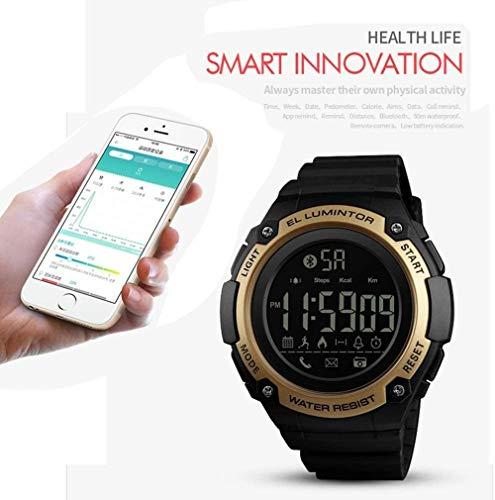 JSL Deportes Smart Watch al aire libre multifuncional hombres s reloj de pulsera 50 m impermeable podómetro contador de calorías llamadas/SMS recordatorio Bluetooth Fitness Tracker reloj verde-oro