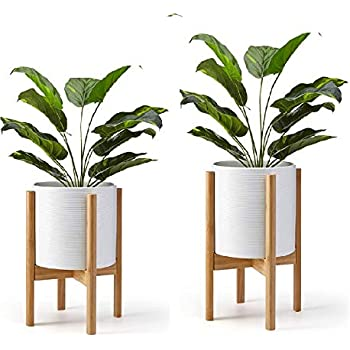 Weston Crafts Plant Stand Modern Set 2 Pieces Wooden Home Decor Piece for Indoor Use Only (Plant and Pot NOT Included) Adjustable for 9 inch Plant Pot Sizes