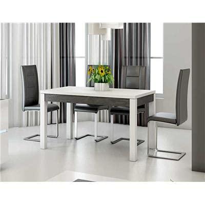 Kasalinea Table à Manger Blanc laqué et Ardoise Design Julia-L 160 x P 90 x H 75 cm- Blanc