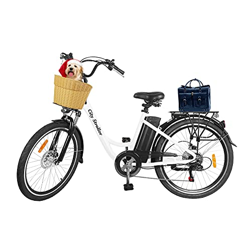 """Electric Bikes for Adults,26"""" 350W 36V/12.5Ah Removable Battery Electric Bicycle for Women E-Bike NAKTO Electric City Bike Mens Commuting EBike with Basket,Shimano 6-Speed Gear,3 Riding Modes"""