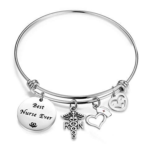 bobauna Best Nurse Ever Expandable Wire Bangle Bracelet Appreciation Gift for Nurse Medical Student (Best Nurse Ever Bracelet)