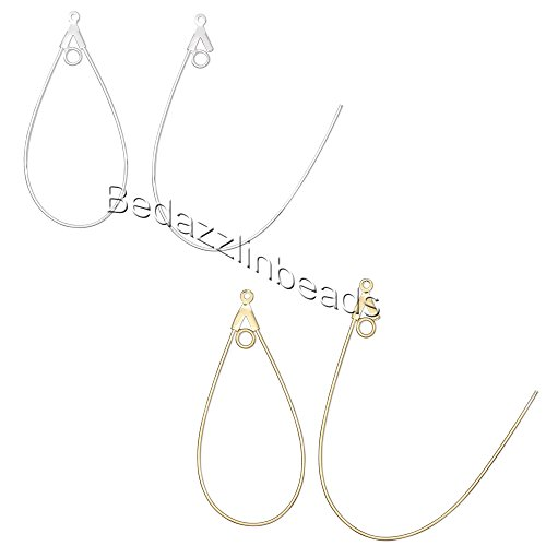 20 Teardrop Shaped Beading Hoop Earring Finding Components w/ Loop Plated Brass Metal (Gold Plated)