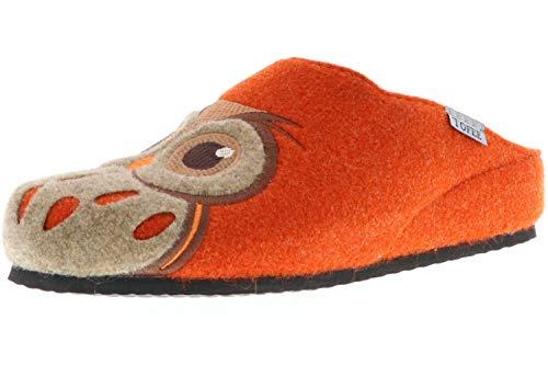 TOFEE Damen Hausschuhe Pantoffeln Naturwollfilz (Eule) orange, Größe:40, Farbe:Orange