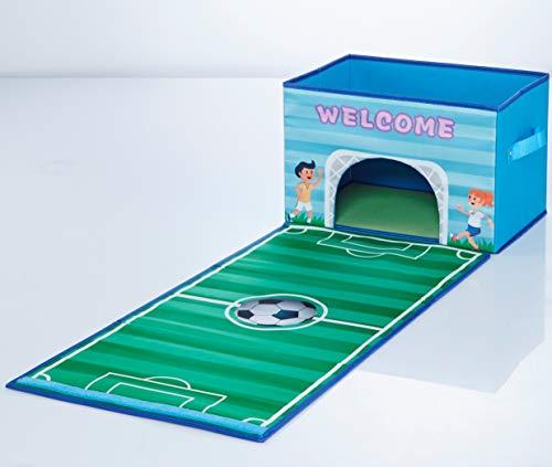 TBB Family Opvouwbare speelgoedkist, speelgoeddoos, opbergdoos met deksel en speelmat, speelmat voor jongens meisjes kinderkamer, motief voetbal voetbal
