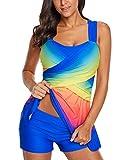 Eternatastic Damen Tankini mit Farbblock, Regenbogenfarben, zweiteilig, Badeanzug mit Shorts - Blau - XX-Large