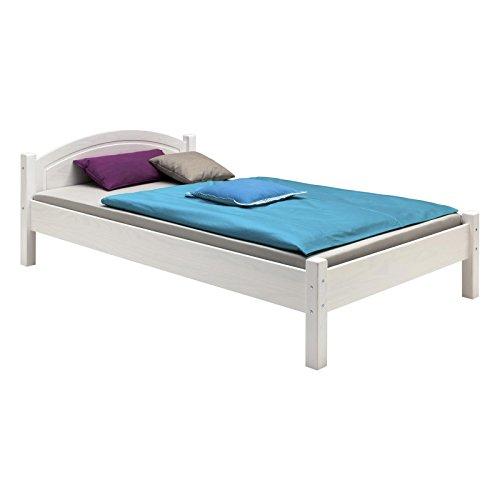 IDIMEX Holzbett Einzelbett Doppelbett Marie Bett 90 x 200 cm (B x L) Kiefer massiv Weiss lackiert