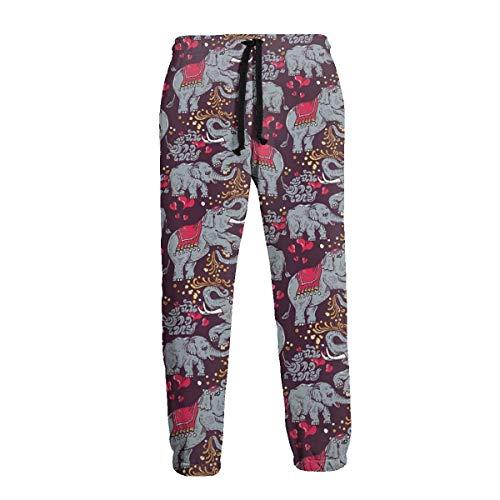 Pantalon de jogging décontracté pour homme Motif famille d'éléphants thaïlandais - Noir - 31-35