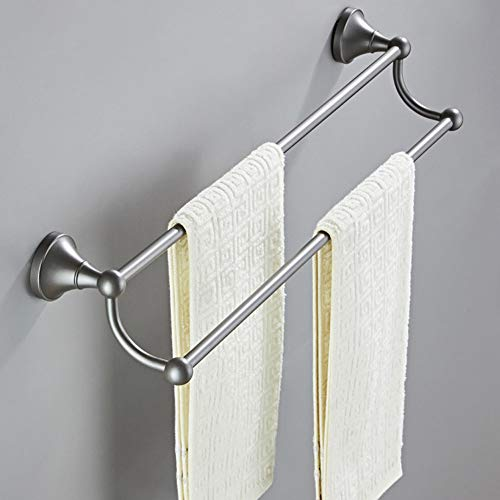 BFDMY Retro Double Towel Rack, Wall Towel Rods, Gray 55Cm, Double Layer, Bath Towel Rod Wall Mounting Drilling Bathroom Bath Towel Holder Made of Brass,Dunkelgrau