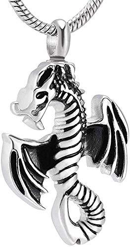 LBBYLFFF Collar de Moda Colgante Cadena Dragones voladores Amuletos con alas Colgante de Ceniza Regalo de Recuerdo Joyería Monumento Collar de urna para Mascota Mini medallón Humano