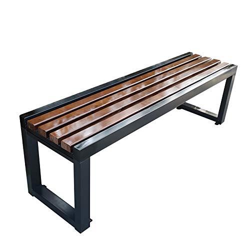 Banco de jardín exterior para terraza Banco de parque, Estructura de acero y madera maciza anticorrosiva Silla de porche resistente a la intemperie sin respaldo Capacidad de carga 1102 libras.