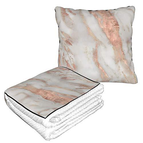Manta de almohada de terciopelo suave 2 en 1 con bolsa suave Civezza oro rosa funda de almohada de mármol para el hogar, avión, coche, viajes, películas