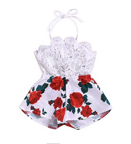 MA&BABY Baby Girls Halter One-Pieces Romper Jumpsuit Sunsuit Outfit Clothes 0-24M (12-18 Months, White 1)