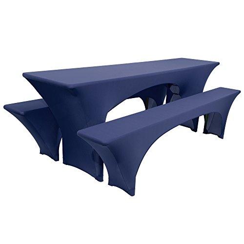 Beautissu Victoria elastische Biertischhusse 220x70 cm + 2 Bierbank-Hussen 3 TLG. Bierzeltgarnitur-Set - Dunkel-Blau & weitere Farben