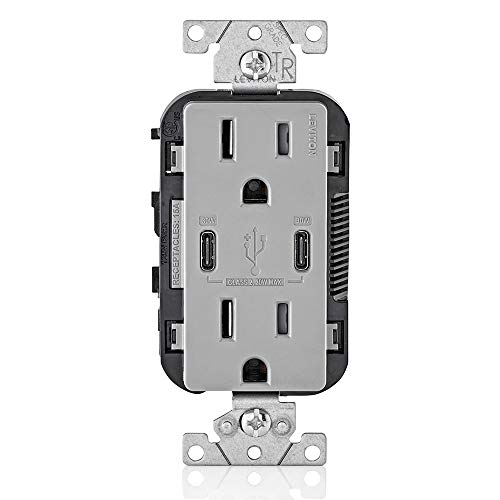 Leviton T5635-G USB Dual Type-C with Power Delivery (PD) In-Wall Charger with 15 Amp, 125 Volt Tamper-Resistant Outlet, Gray