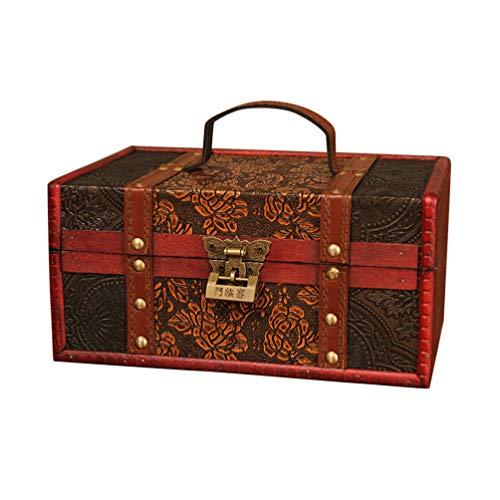 TOPBATHY Antike Hölzerne Schatzkiste Andenken Boxen Vintage Aufbewahrungskoffer Dekorative Mittelalterliche Truhen Veranstalter mit Traditioneller Chinesischer Schließe Und Griff Stil 3