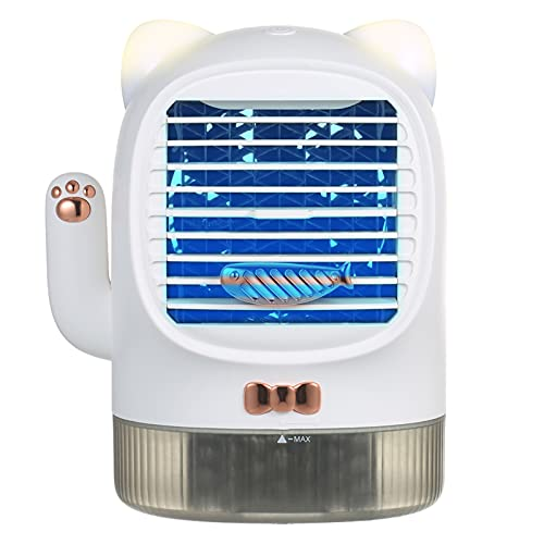 Zwbfu Ventilador de aire acondicionado portátil con luz ultravioleta, USB, recargable, silencioso, ventilador de escritorio, enfriador evaporativo, humidificador, difusor de aceite esencial