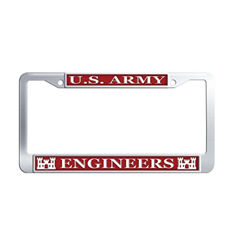 U.S. Army Engineers Custom License Plate Cover Frame, Perssonalized Tinted Universal Car Tag Cover Frames for US Vehicles with 2 Screws Caps