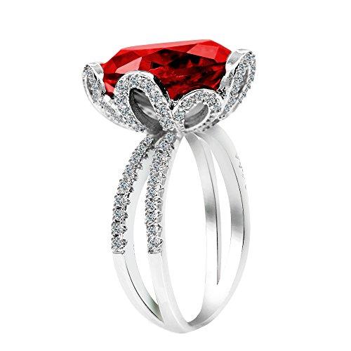 Uloveido Damen Platinbeschichtetes Kissen Cut Lab Erstellt Roter Granat Ring Split Shank Blumenringe mit Micro Pave Zirkonia Steinen Größe 59 (18.8) RJ212