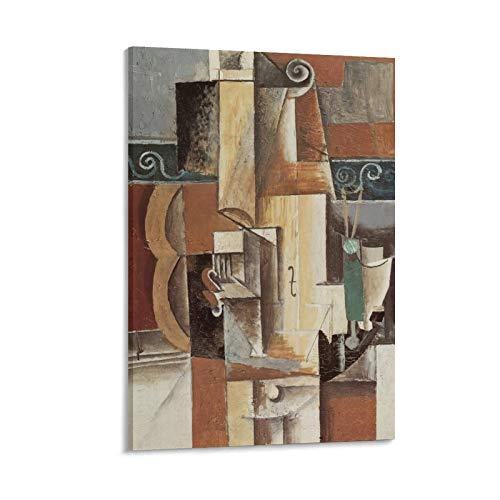 Pablo Picasso Gitarre und Violine 1912 Malzimmer Ästhetisches Poster Kunstdruck Kunst Wandbild Leinwand Poster Geschenke Modern Schlafzimmer Dekor 60 × 90 cm