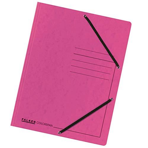 Preisvergleich Produktbild Original Falken 25er Pack Premium Einschlagmappe. Made in Germany. Aus extra starkem Colorspan-Karton mit 3 Innenklappen und 2 Gummizügen DIN A4 Pastell-Pink Juris-Mappe Sammelmappe