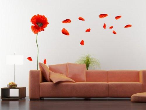 Wandsticker Mohnblume mit Blüten Nr. 262 Wandaufkleber Wandgestaltung Deko