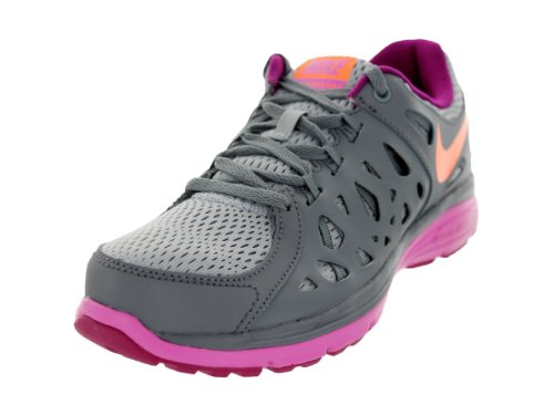 Nike Women's Dual Fusion Run 2 WLF Gry/ATMC Orng/Cl Gry/Rd Vl Running Shoe 6 Women US
