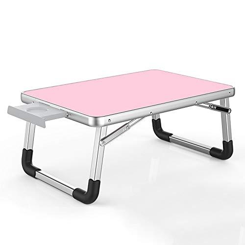 GXC Klapptisch, Aluminium-Legierung Multifunktions-Klapp-Computer-Tischbock Gummi-Anti-Rutsch-Fuß Tragbarer Zusammenklappbarer Tragbarer Tisch Mit 75 Kg Tragkraft (Color : Pink, Size : B60cm)