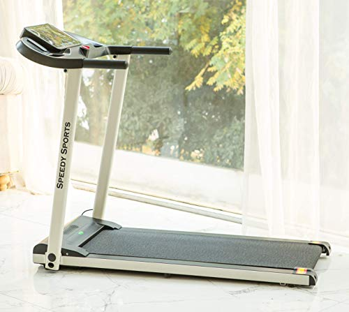 Buyer Empire Treadmill Motorised Running Belt Machine Digital Folding Incline Running and Walking Exercise Fitness Machine with LED Display Easy Control Home Gym (White) (White)